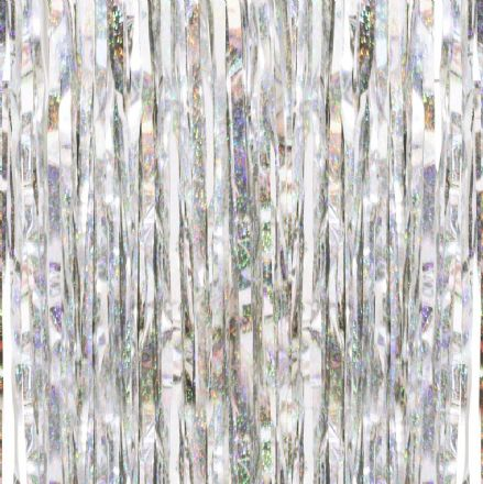Silver Holographic Fringe Curtain Party Backdrop